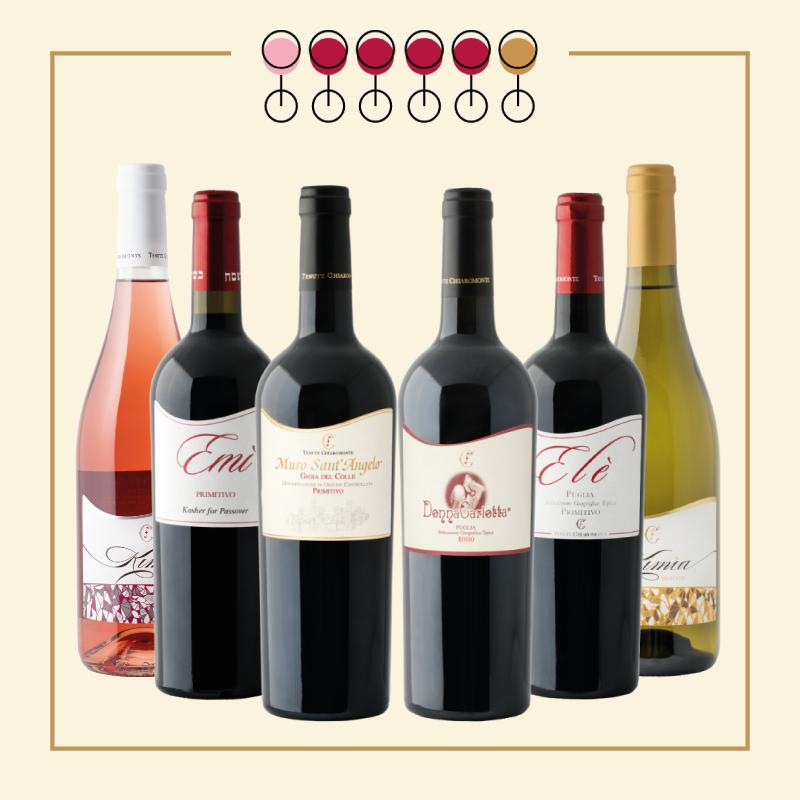 6 Vini: 3 Primitivo, 1 Rosso Kosher, 1 Primitivo Rosato, 1 Moscato Secco. IN REGALO Olio Extravergine