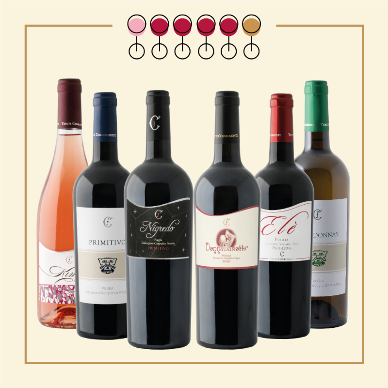 6 Vini: 4 Primitivo, 1 Chardonnay, 1 Pinot Rosato.