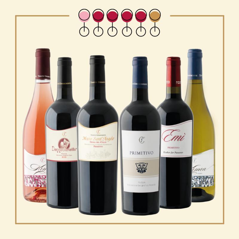 6 Vini: 3 Primitivo, 1 Rosso Kosher, 1 Fiano, 1 Pinot Rosato. IN REGALO Olio Extravergine