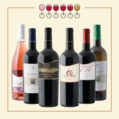 6 Vini: 4 Primitivo, 1 Chardonnay, 1 Primitivo Rosato. IN REGALO Olio Extravergine