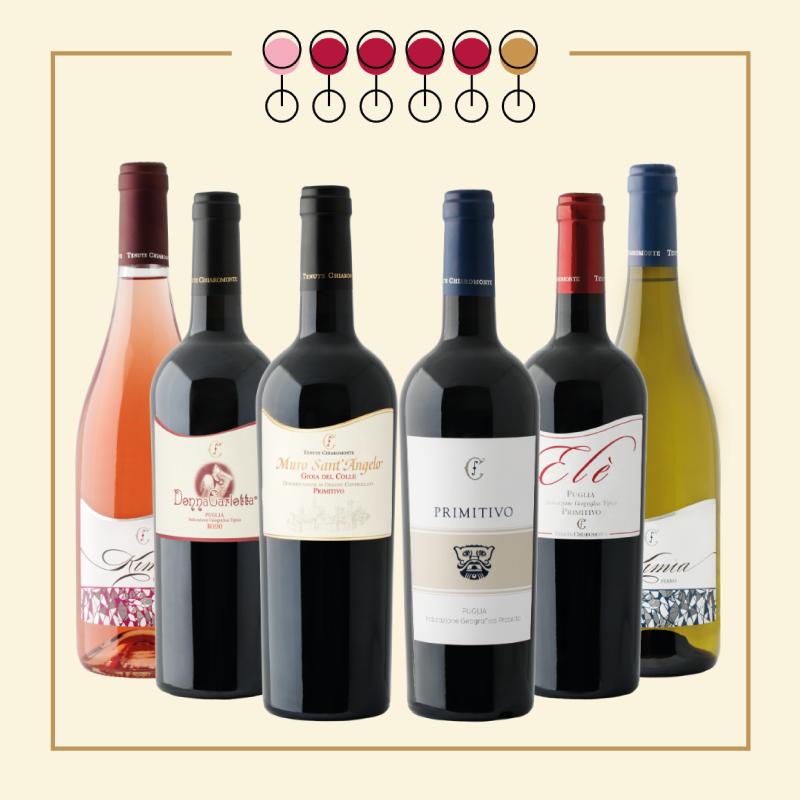 6 Vini: 4 Primitivo, 1 Fiano, 1 Pinot Rosato. IN REGALO Olio Extravergine