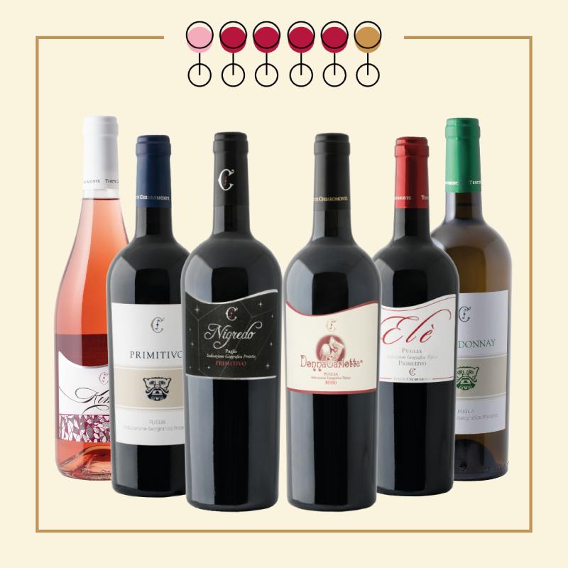 6 Vini : 4 Primitivo, 1 Chardonnay, 1 Primitivo Rosato. IN REGALO Olio Extravergine