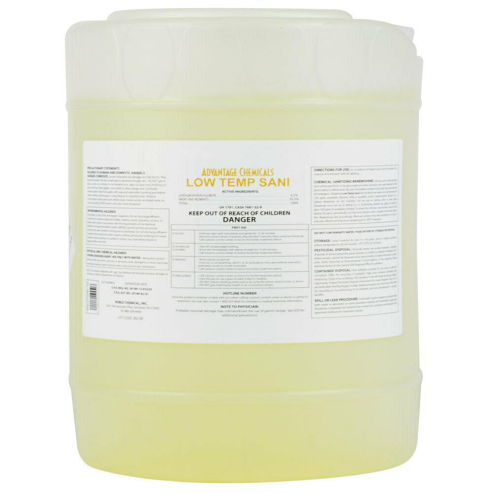 Dish Advantage Chemicals 5 gallon / 640 oz. Low Temperature Dish Washing Machine Sanitizer
