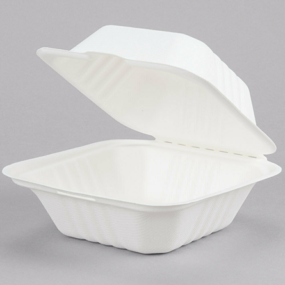 """Box EcoChoice Biodegradable, Compostable Sugarcane / Bagasse 5"""" x 5"""" x 3"""" Take-Out Container - 500/Case"""