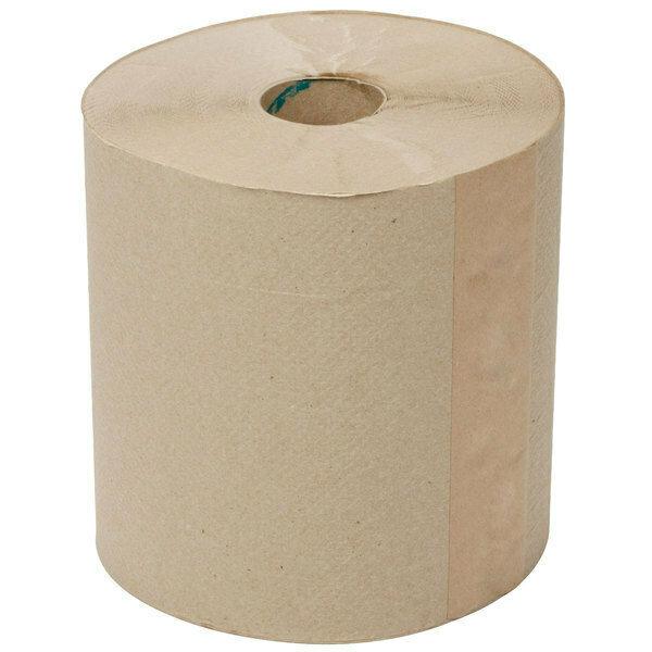 Towel Lavex Janitorial 800' Natural Brown Kraft Hardwound Roll Paper Towel - 12/Case