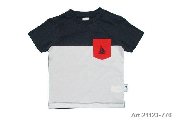 Tee shirt marine et blanc avec poche rouge Stummer