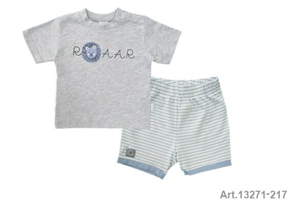 Ensemble tee shirt gris imprimé  lion et short bleu rayé Stummer