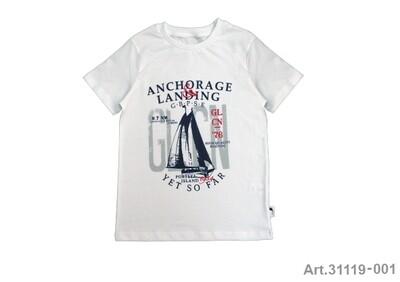 Tee shirt blanc imprimé bateau Stummer