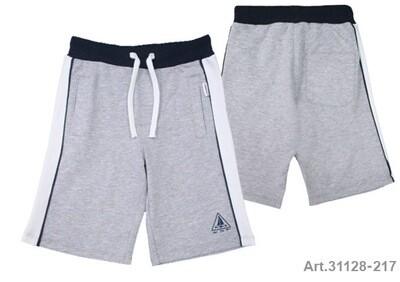 Short gris jersey avec ligne blanche et marine sur le côté avec poches avant et arrière Stummer