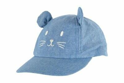 Casquette bleu avec chat Petit Bateau