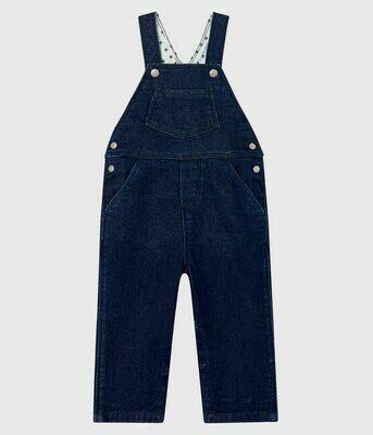 Salopette longue en jeans denim molletonnée Petit Bateau