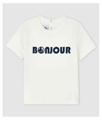 Tee shirt blanc Bonjour Petit Bateau