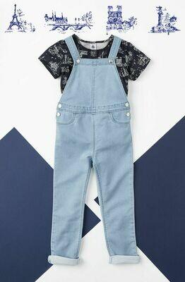 Salopette jeans denim Petit Bateau