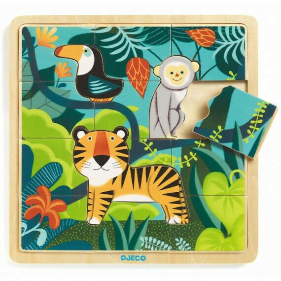 Jungle puzzle en bois 15 pièces Djeco