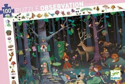 Puzzle d'observation 100 pièces forêt enchantée Djeco