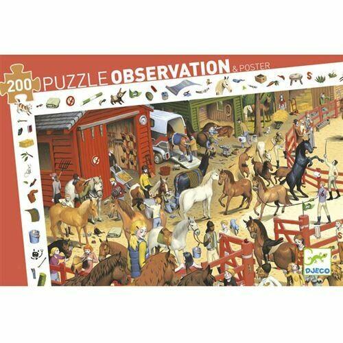 Puzzle d'observation 200 pièces équitation Djeco