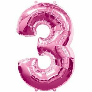 Ballon métallique rose chiffre 3