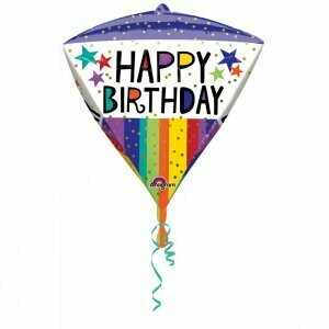 Ballon métallique Happy Birthday triangle