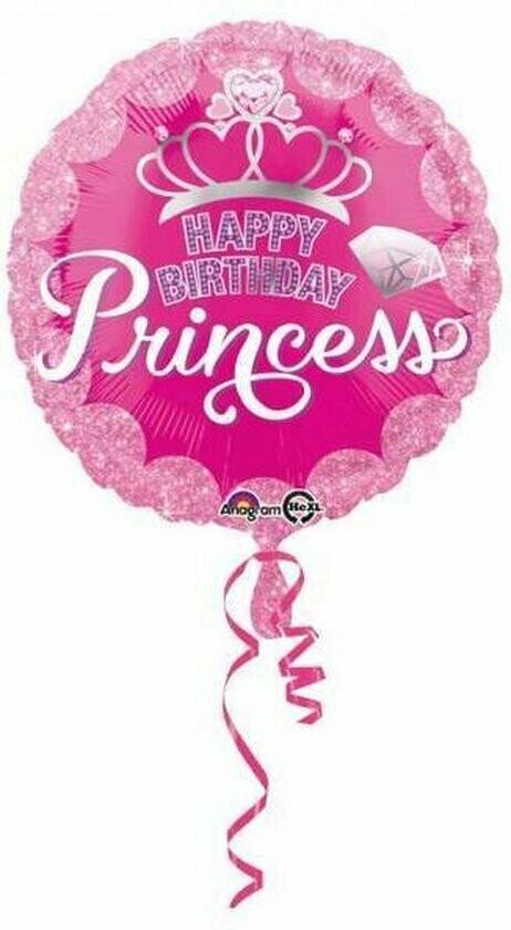 Ballon métallique Happy Birthday Princesse
