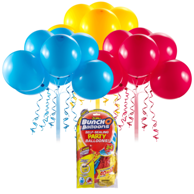 Buncho Balloons bleu, rouge et jaune. Recharge de 24 ballons