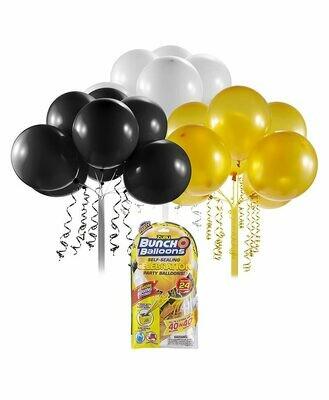 Buncho Balloons noir, doré et blanc. Recharge de 24 ballons