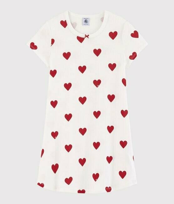 Chemise de nuit avec coeurs manches courtes Petit Bateau