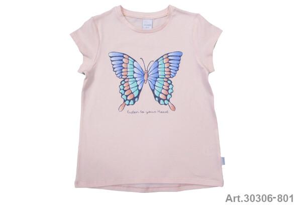 Tee shirt saumon imprimé papillon Stummer