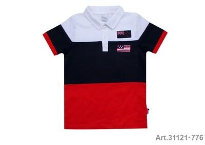 Polo manches courtes, marine, rouge et blanc Stummer