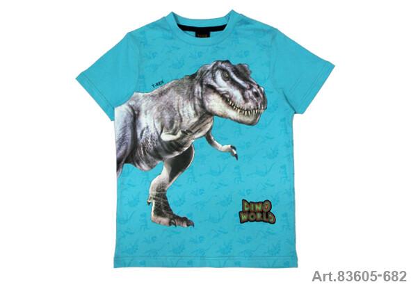 Tee shirt bleu turquoise imprimé dinosaure