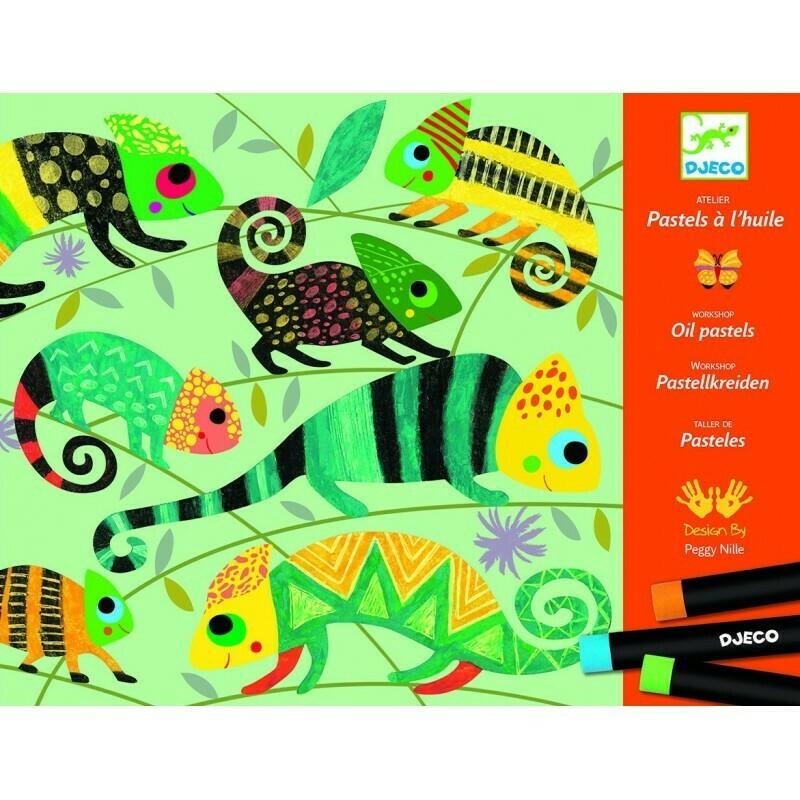 Pastels à l'huile. Jungle colorée Djeco