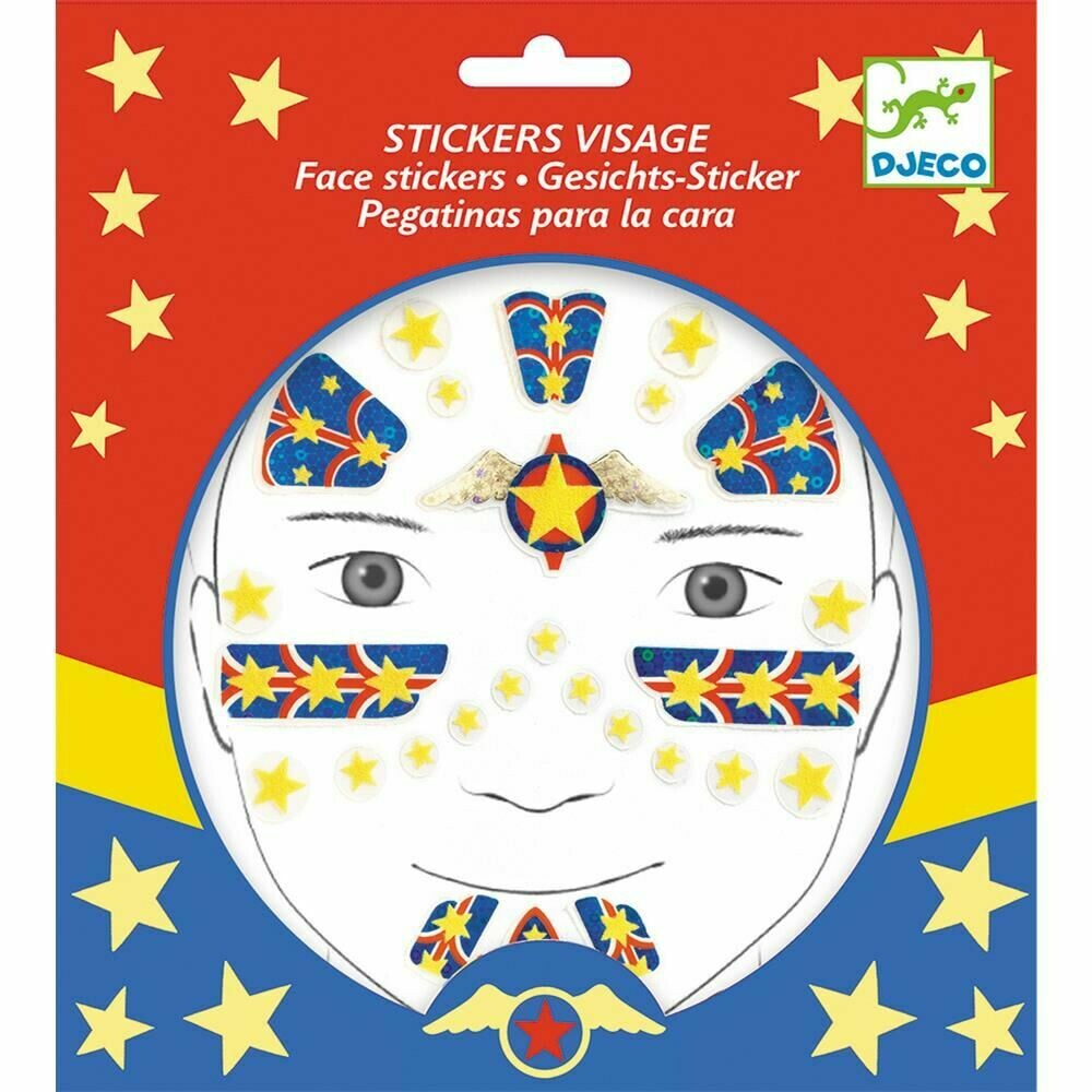 Stickers visages repositionnables Super Héros Djeco