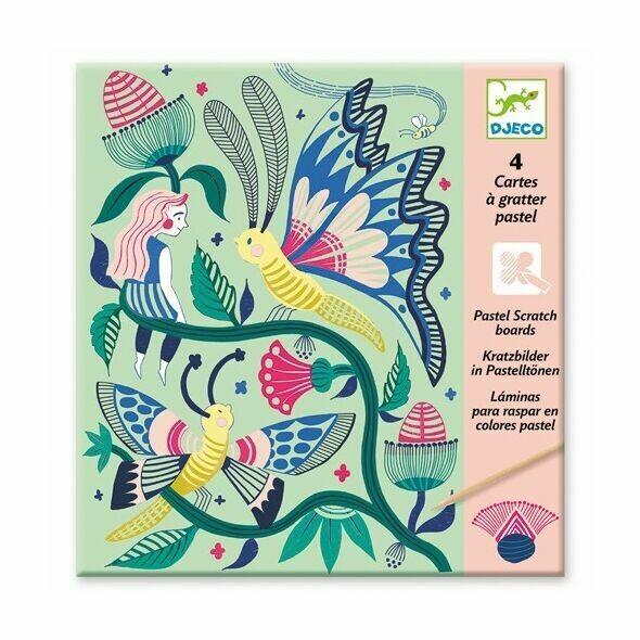4 cartes à gratter Jardin Fabuleux Djeco