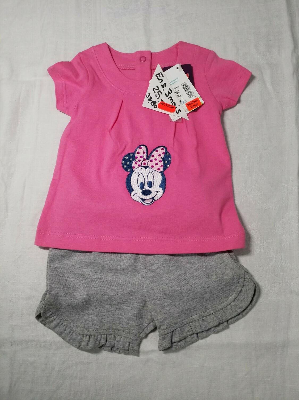 Ensemble d'été short gris et tee shirt rose Minnie