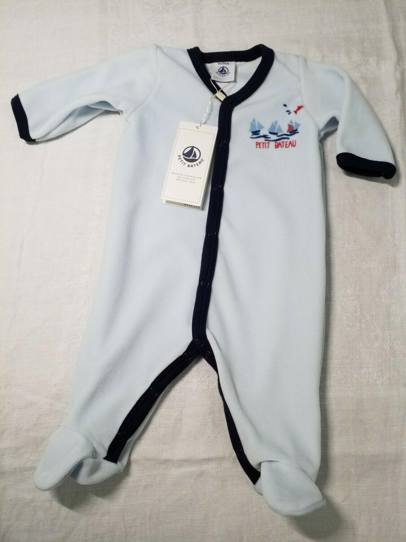 Pyjama velours bleu ciel  bord marine imprimé Petit Bateau