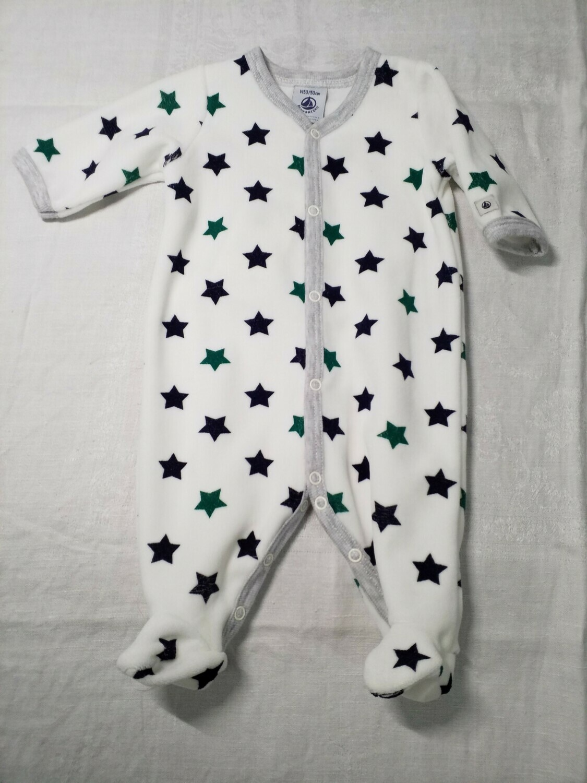 Pyjama velours écru imprimé étoiles Petit Bateau