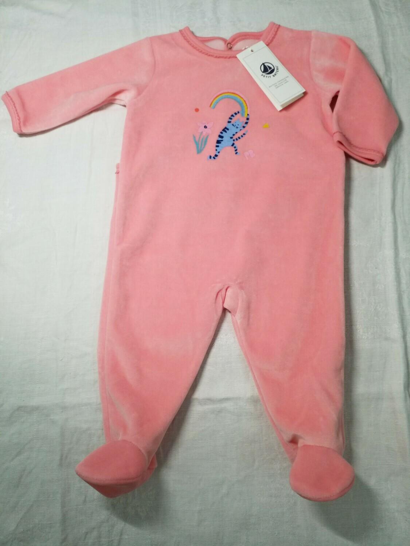 Pyjama velours rose imprimé chat dansant Petit Bateau