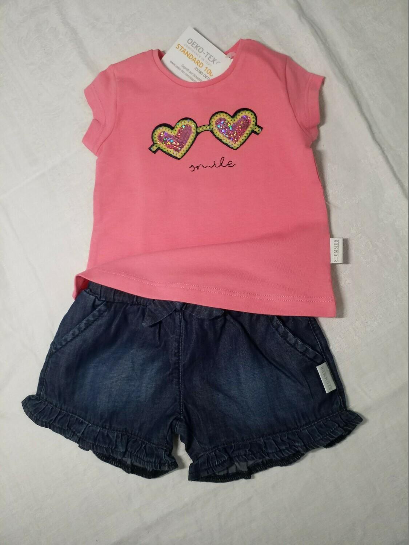 Ensemble short jeans et tee shirt rose imprimé lunettes pailletées Stummer