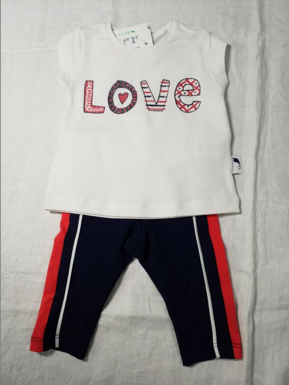 Ensemble pantalon jersey marine ligne rouge sur le côté et tee shirt Love Stummer