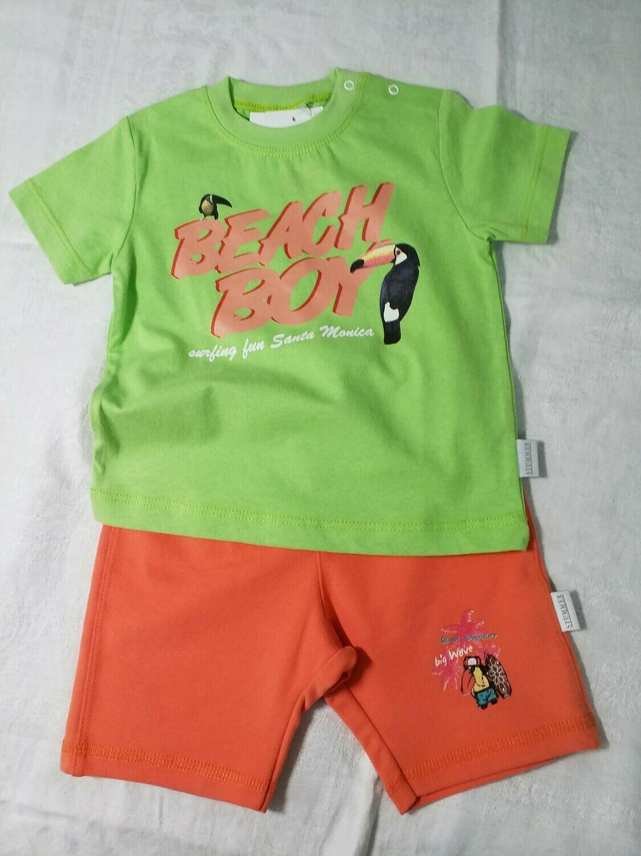 Ensemble short orange et tee shirt vert toucan Stummer