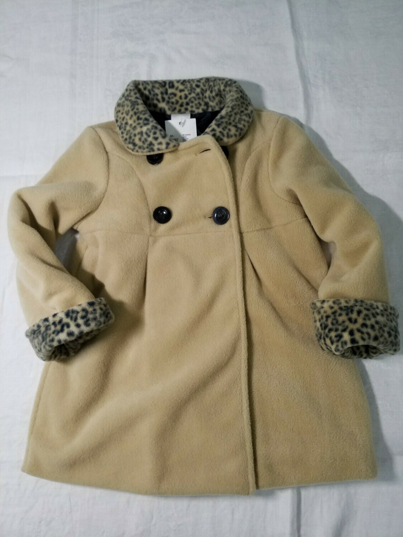 Manteau beige col et manches léopard Stummer