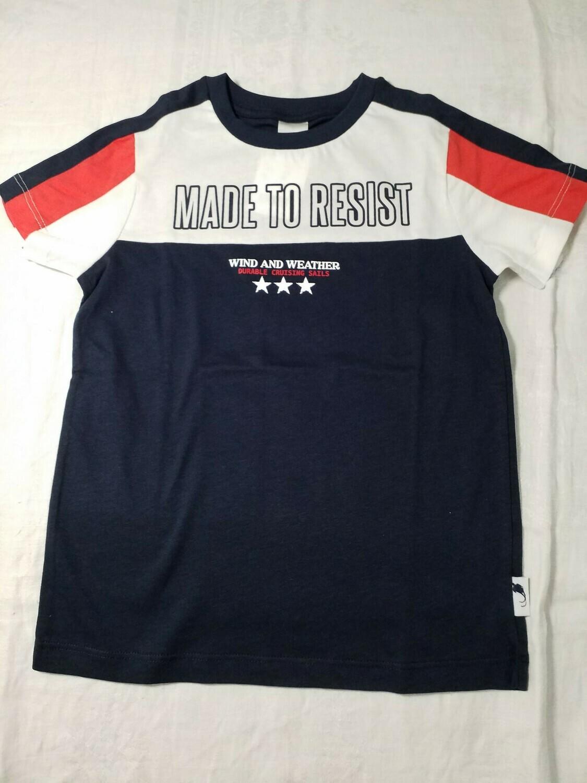Tee shirt marine blanc et rouge imprimé Made to Resist Stummer