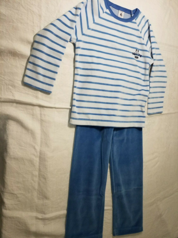 Pyjama velours bleu rayé imprimé au dos Petit Bateau