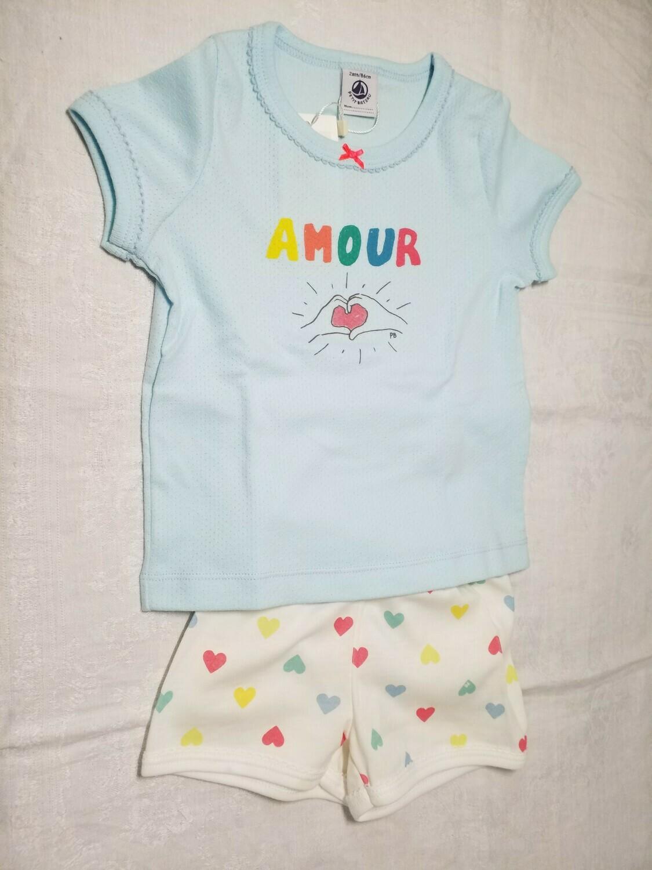 Pyjama court bleu ciel imprimé Amour avec coeur Petit Bateau