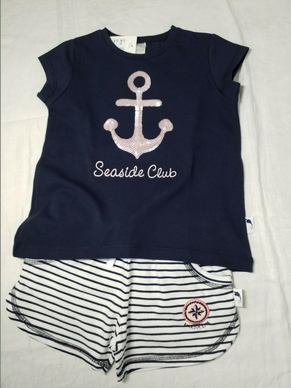 Ensemble short rayé et tee shirt marine avec ancre en sequin Stummer