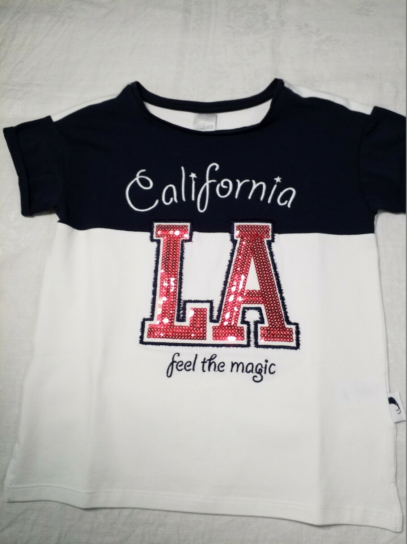 Tee shirt marine et blanc California LA sequin Stummer