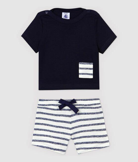 Ensemble short rayé marine et tee shirt marine avec poche Petit Bateau