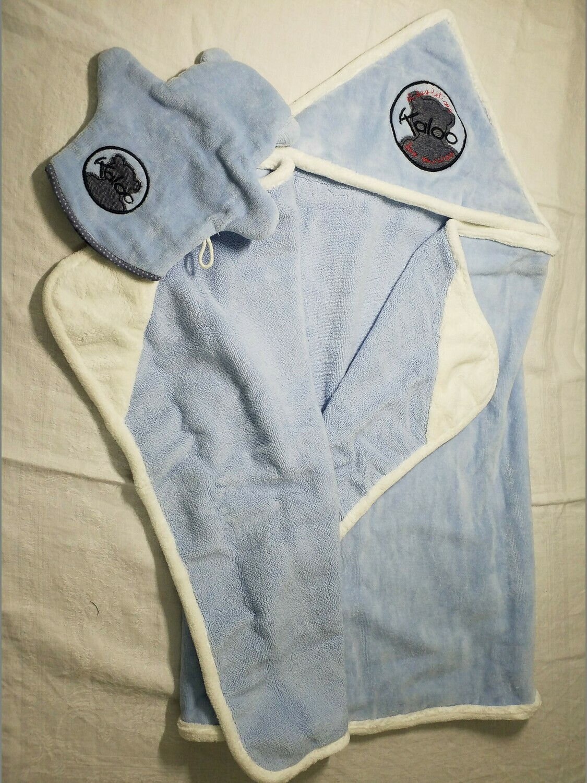 Sortie de bain linge velours bleue Kaloo