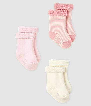 3 paires de chaussettes bouclettes rose et blanc Petit Bateau