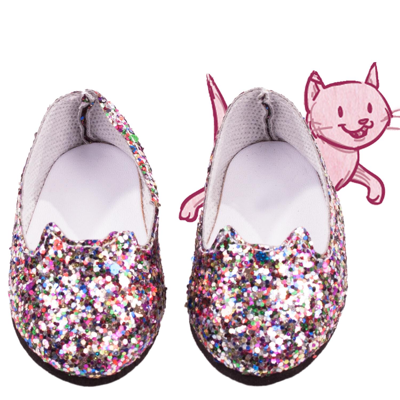 Chaussures chat pailletées pour poupée 50 cm Götz