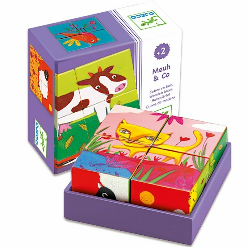 Puzzle cubes en bois Vache & Co 4 pièces Djeco